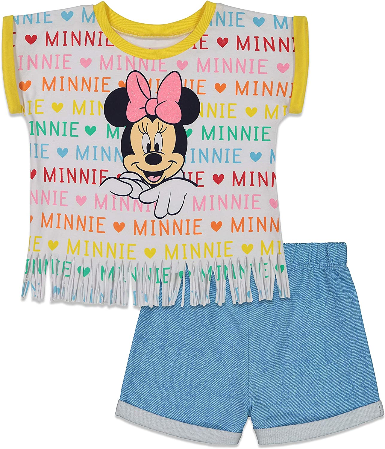 Disney Minnie Mouse Toddler Girls French Terry T-Shirt and Shorts Set 3T Blue