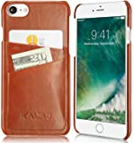 """KAVAJ iPhone 7 Case Leather Back-Cover """"Tokyo"""" Cognac-Brown Slim-Fit Genuine Leather Wallet-Case Hard-Cover With Business Card Holder. Slim Bumper Leathercase Etui Accessory for Apple iPhone 7"""