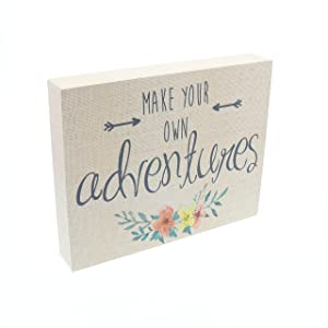 """Barnyard Designs Make Your Own Adventures Box Sign, Primitive Country Farmhouse Home Decor Sign with Sayings 10"""" x 8"""""""