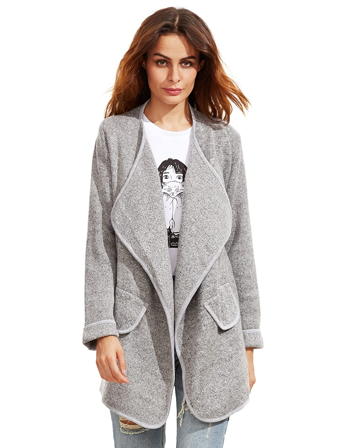 SheIn Women's Long Cardigan Open Front Sweater Coat One-size Grey ...