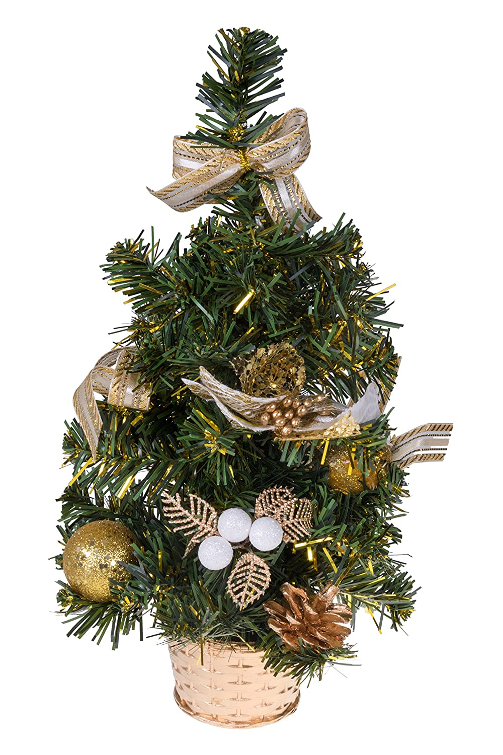 How To Put Ribbon On Christmas Tree.Clever Creations Mini Artificial Christmas Tree With Pinecone Ribbon And Ball Ornaments Gold Christmas Decor Theme Decoration For Home And Office