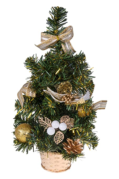 Clever Creations Mini Artificial Christmas Tree With Pinecone Ribbon And Ball Ornaments Gold Christmas Decor Theme Decoration For Home And Office