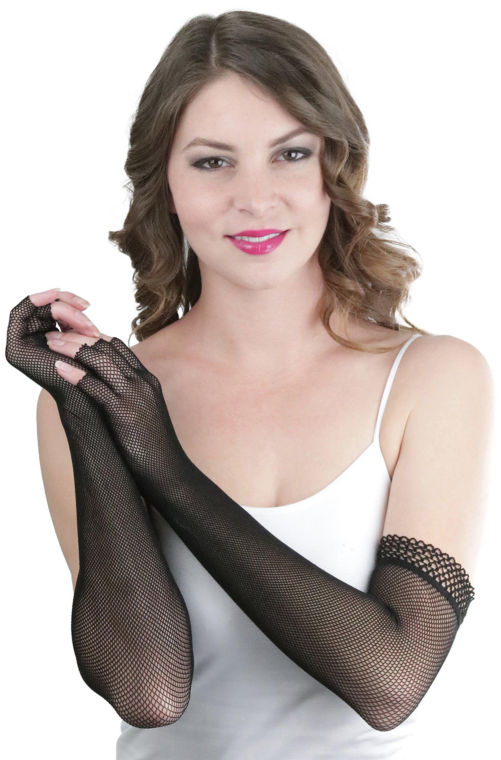 ToBeInStyle Women's Fishnet Trim 100% Nylon Arm Length Glove Warmers - Black