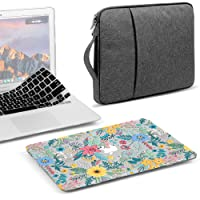 GMYLE 3 in 1 Bundle Glossy Crystal Light Clear Case Cheery Fresh Floral Flower Hard Plastic Cover for MacBook Air 13 inch (A1369/A1466), Grey Water Repellent Laptop Sleeve with Handle & Keyboard Skin