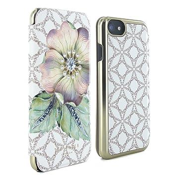 0c0b358f1e2c7e Official TED BAKER® Fashion Branded Mirror Folio Case for iPhone 7 - MAVIS  - Gem Gardens Cream