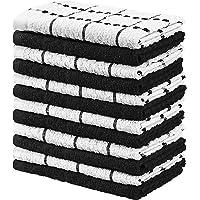 Utopia Towels Kitchen Towels (12 Pack) Cotton - Machine Washable - Extra Soft Set of 12 Black White Dobby Weave Dish Towels, Tea Towels, Bar Towels