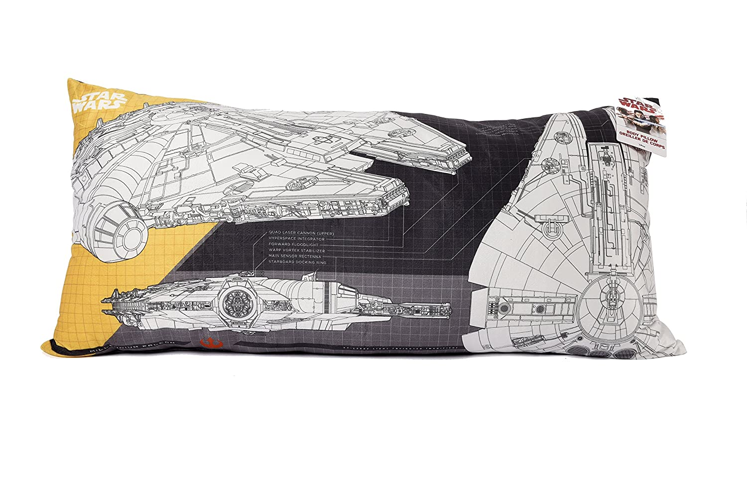 "Wars Star 94460 Millennium Falcon Ultra Soft Body Pillow - 18"" x 36"""