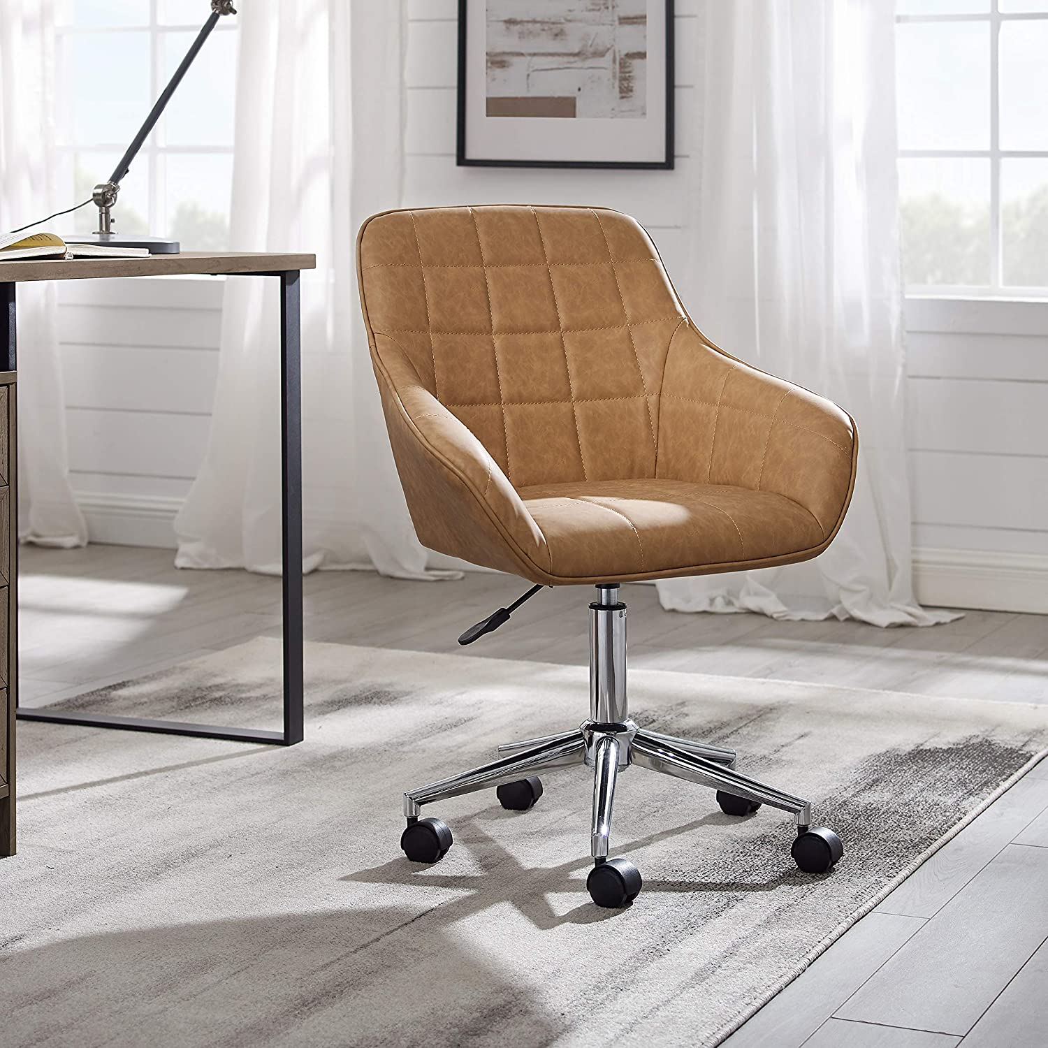 Volans Cute Desk Chair, Modern Simple Mid-Back Leather Swivel Home Office Task Chair with Arms and Adjustable Height for Small Spaces Home Office Living Room Bedroom, Brown