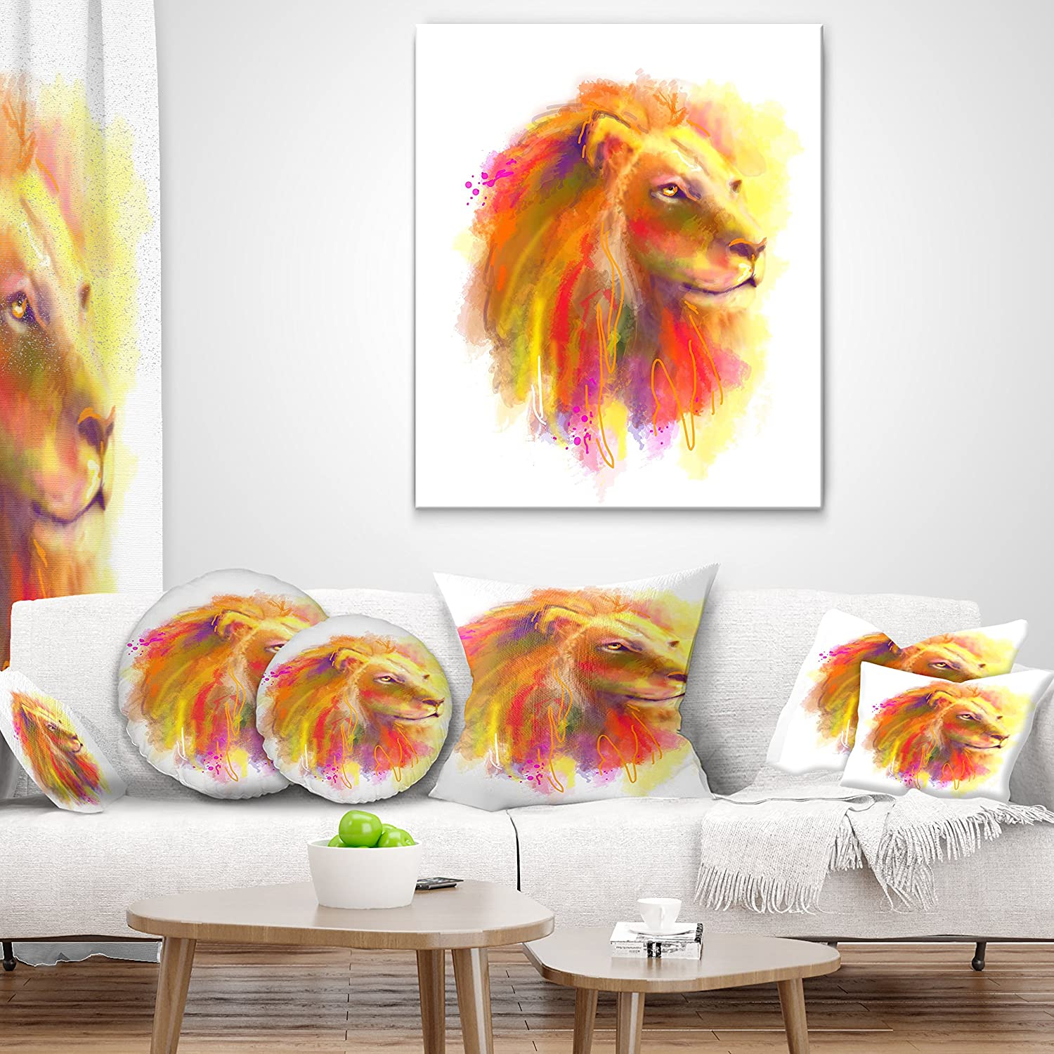 x 26 in. Designart CU8842-26-26 Lion with Colorful Mane Animal Throw Cushion Pillow Cover for Living Room 26 in Sofa