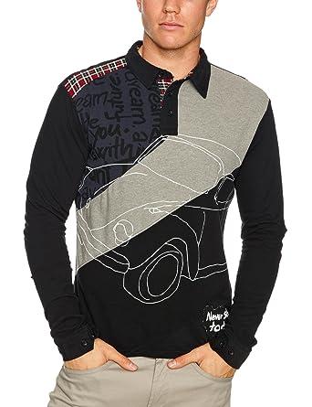 Desigual Doeng - Camiseta con Cuello de Polo de Manga Larga para ...