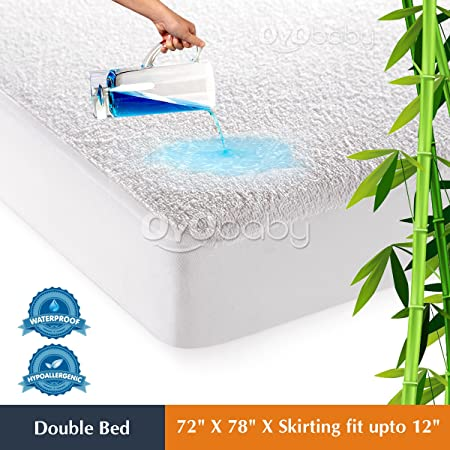 Oyo Baby - Hypoallergenic Waterproof Mattress Protectors Cover Cotton King Size Double Bed/Fitted {White} 72X78X(Skirting 10)
