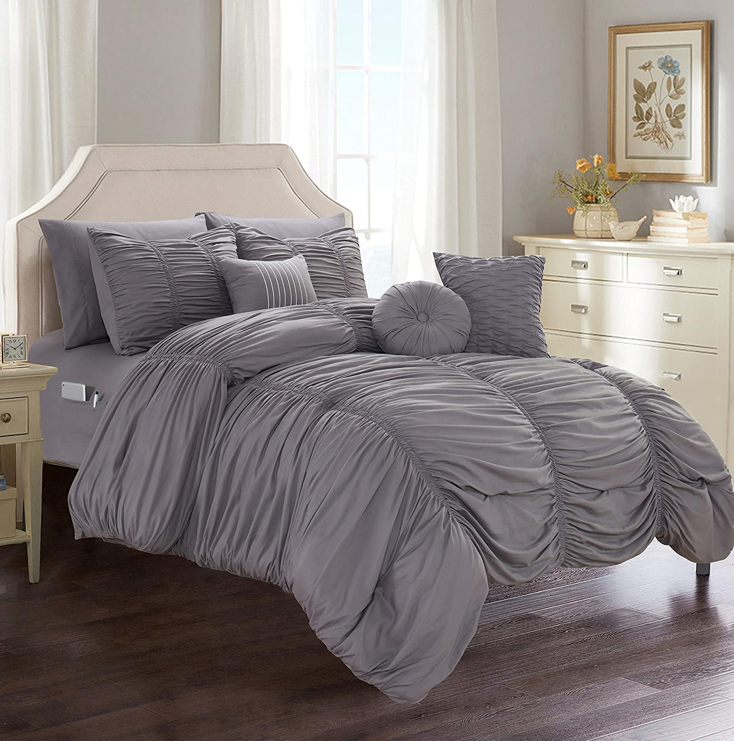 Elegant Comfort Luxury Best, Softest, Coziest 10-Piece Bed-in-a-Bag Pleated Comforter Set, Ruched Ruffle Comforter Set Includes Bed Sheet Set with Double Sided Storage Pockets, Full/Queen, Grey