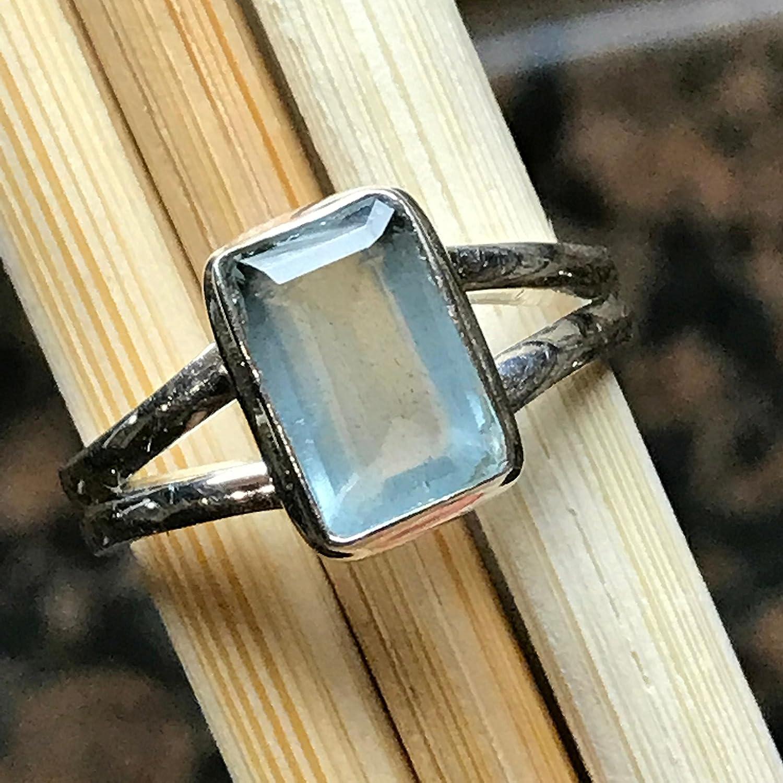 Natural 1.5ct Aqua Blue Aquamarine 925 Solid Sterling Silver Emerald Cut Unisex Ring sz 8.75