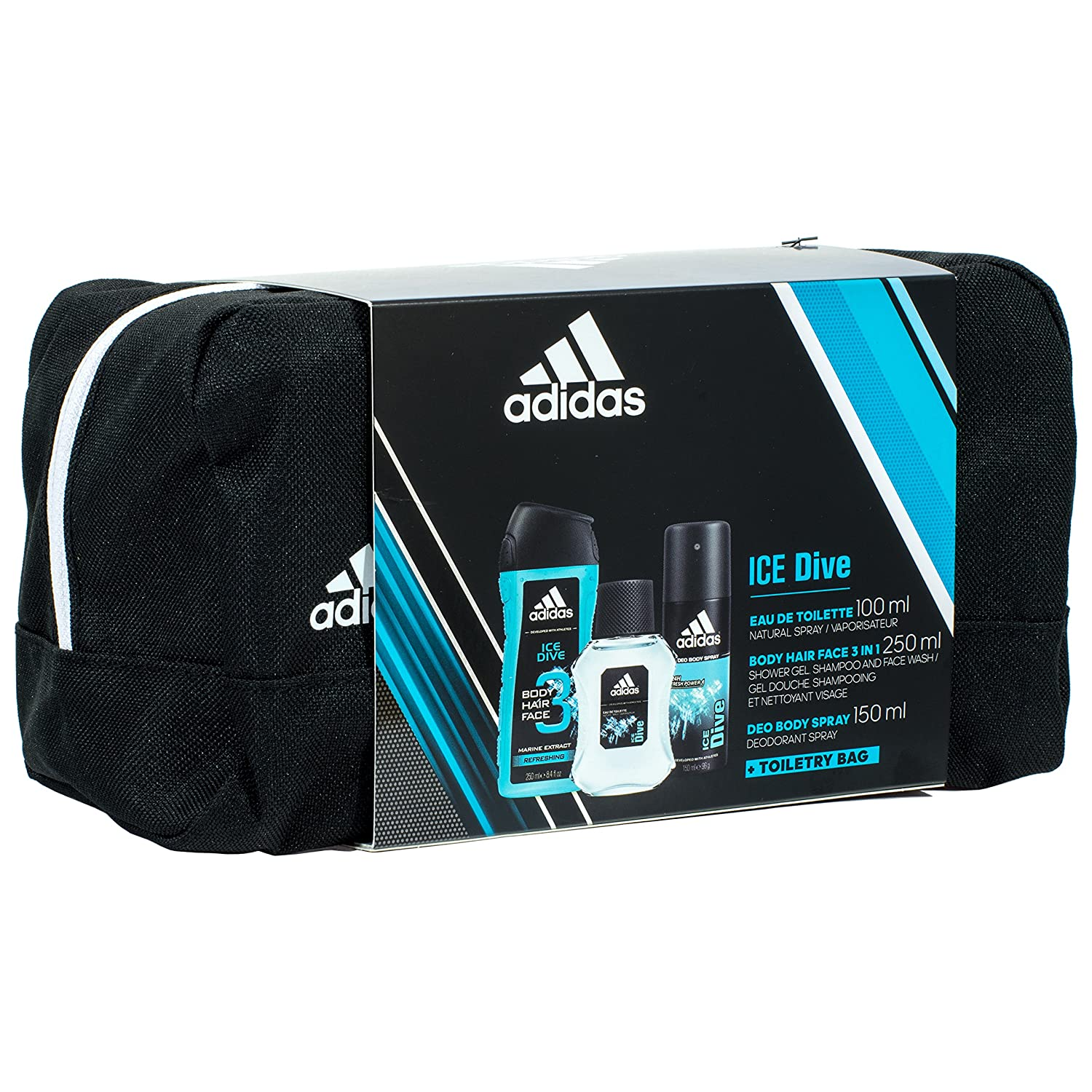 e0099926d8be Adidas Ice Dive Set for Men - 100ml Eau de Toilette 150ml Deodorant 250ml  Shower Gel and Toiletry Bag  Amazon.co.uk  Beauty