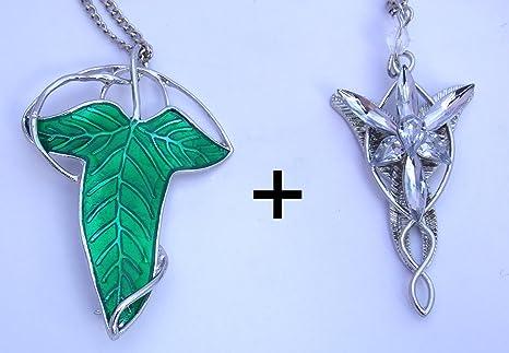 LOTE 2 Colgantes ESDLA - Arwen Estrella del Atardecer Plateado + Broche Élfico Hoja de Lórien