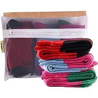 Laulax - Juego de 3 pares de calcetines de esquí para niñas, diseño de cachemira, color rojo, rosa y azul
