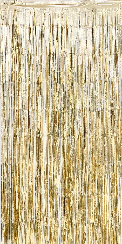 Allgala 4PK Metalic Tinsel Party Photo Backdrop Curtains Door Fringe Décor- Gold Matte Champagne-BD52401