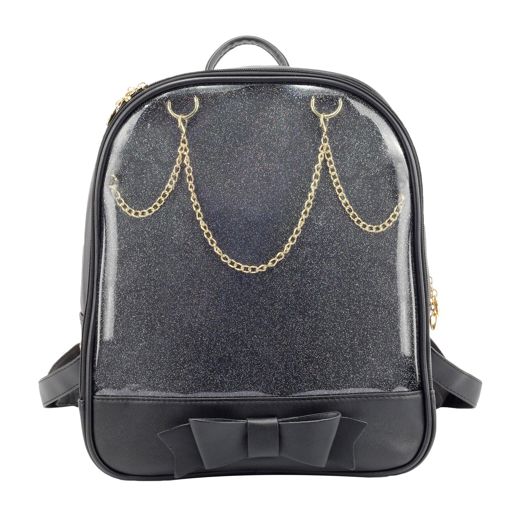 SteamedBun Ita Bag Candy Leather Backpack Bowknot Transparent Beach Girls School Bag Black