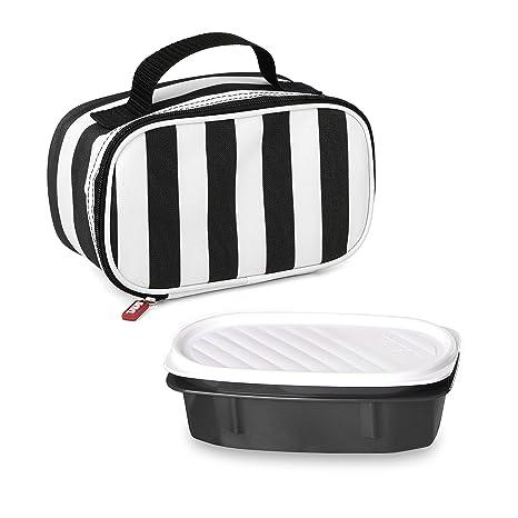 Tatay Urban Food Zebra Mini Bolsa térmica Porta Alimentos con Fiambrera incluida, Tela, Negro/Blanco, 21.5 x 9 x 12 cm