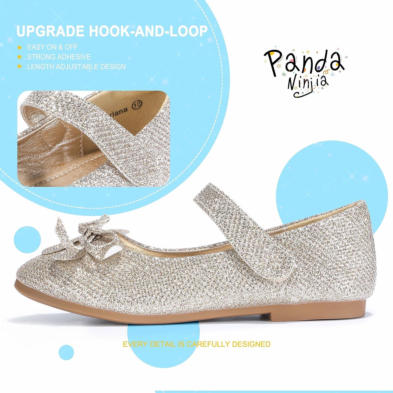 PANDANINJIA Toddler//Little Kids Ariana Princess Glitter Gold Ballet Flower Mary Jane Girls Flats Dress Shoes