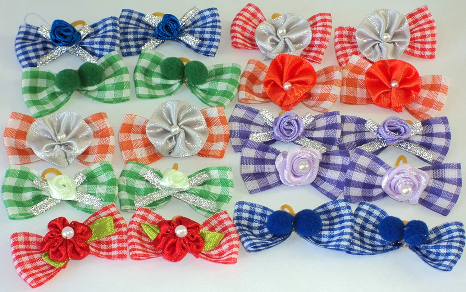 30 Dog Hair Bows- Gingham Collection