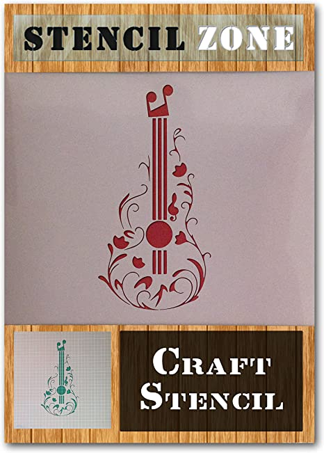 Guitar Stencil Reusable Musical Instrument Treble Clef Music For Painting Wall