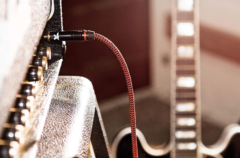1//4 Anpro Guitar Lead Cable 3m 10ft 6,3 mm Cable de Instrumento de Guitarra para Guitarra el/éctrica Bass Keyboard Enchufes Rectos en Forma de L