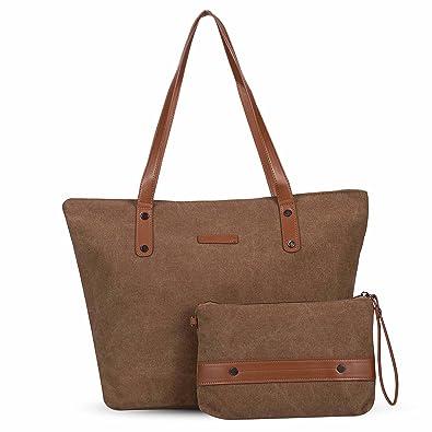 Women s Large Canvas Shoulder Tote Bag Casual Handbag Travel Bag with Small  Conin Purse Wristlet 6d527e234a