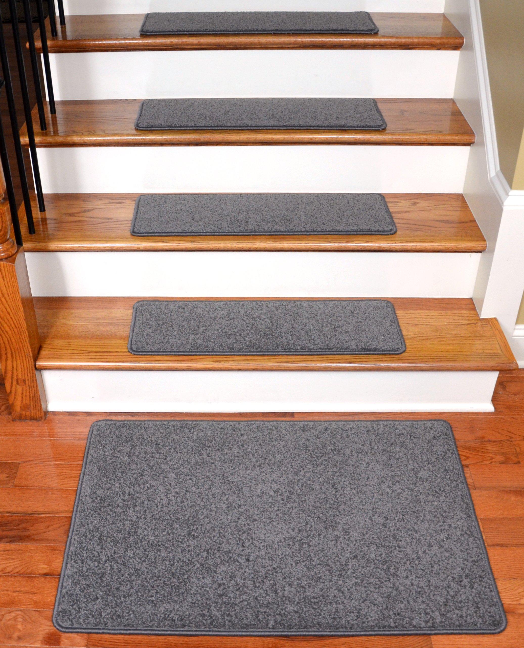 Dean Carpet Stair Treads 27'' x 9'' Gray Plush (Set of 13) Plus a 2' x 3' Mat