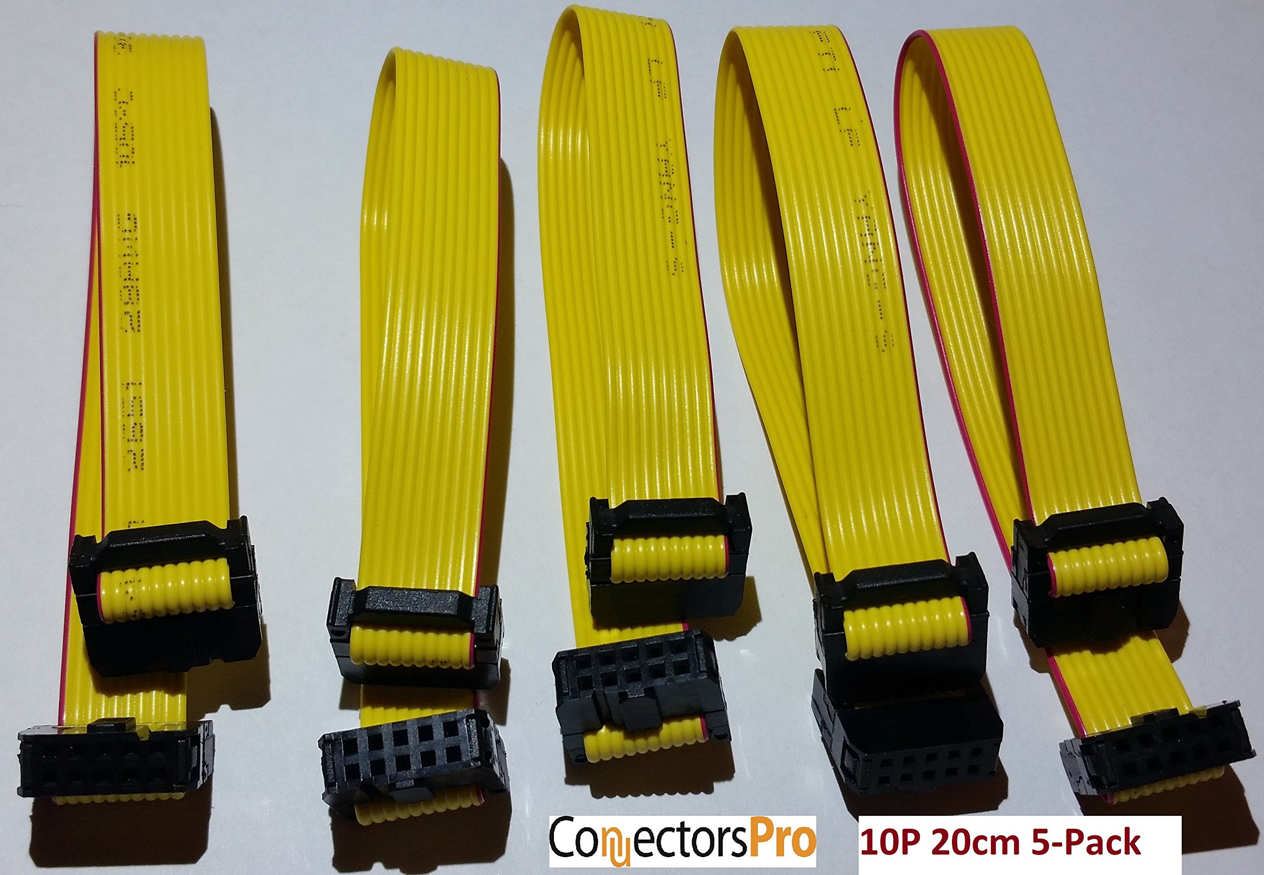 """Pc Accessories - Connectors Pro Length 20cm to 80cm 2-Pack and 5-Pack 10-Pin 1.27mm 0.5"""" Pitch Yellow Flat Ribbon Cable F/F IDC 2x5 10P, with 2.54mm FC 10 Pins Female to Female (10P-20cm-5PK)"""