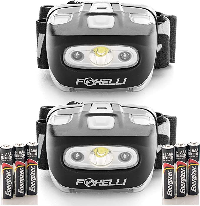 Foxelli Headlamp Flashlight – 165 Lumen