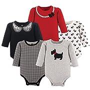 Hudson Baby Unisex Baby Long Sleeve Cotton Bodysuits, Scottie Long Sleeve 5 Pack, 0-3 Months (3M)