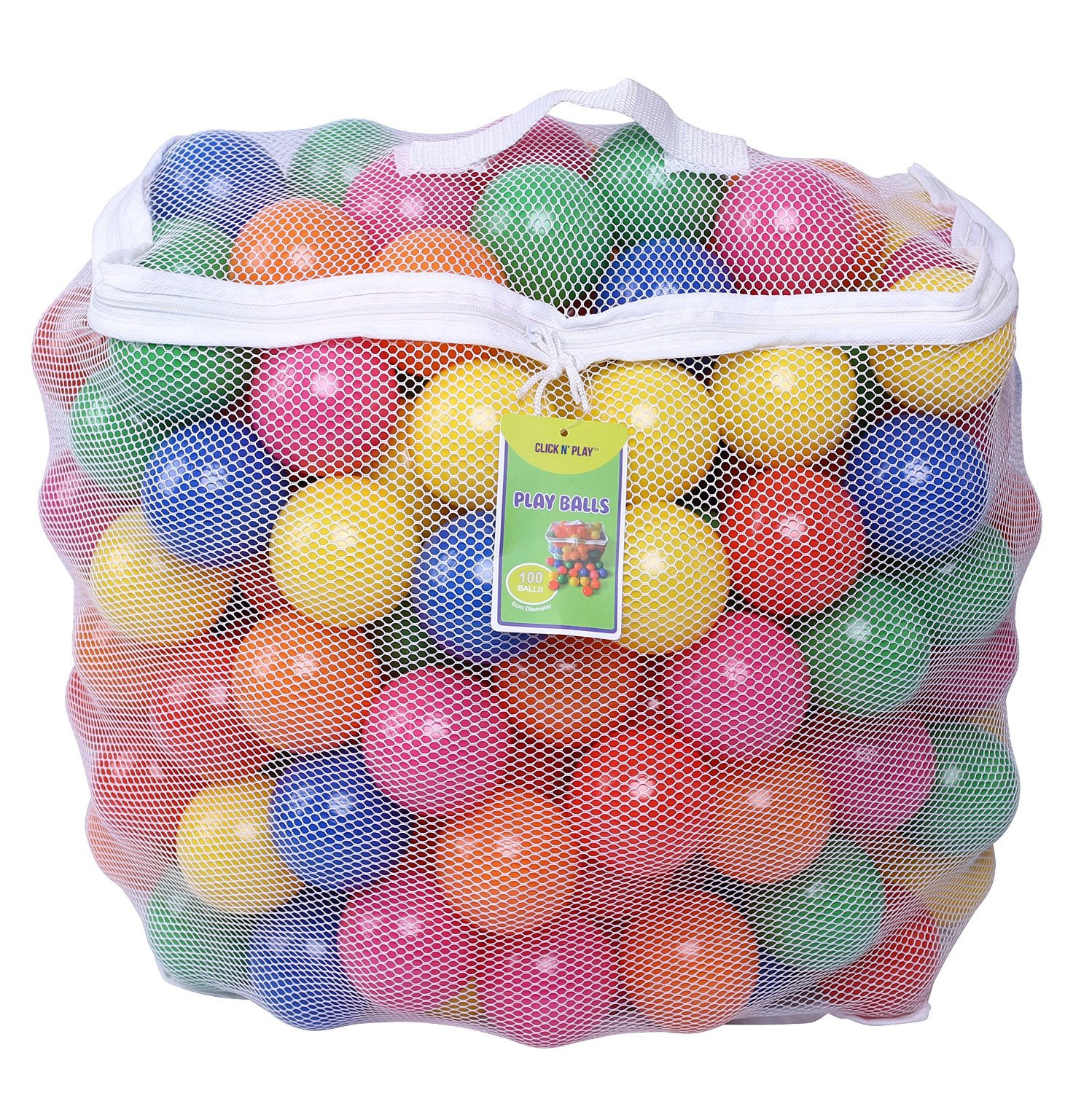 Click N' Play 0005A Pack of 100 Phthalate Free BPA Free Crush Proof Plastic Ball, Pit Balls-6 Bright Colors in Reusable and Durable Storage Mesh Bag with Zipper Click N' Play CNP0005A