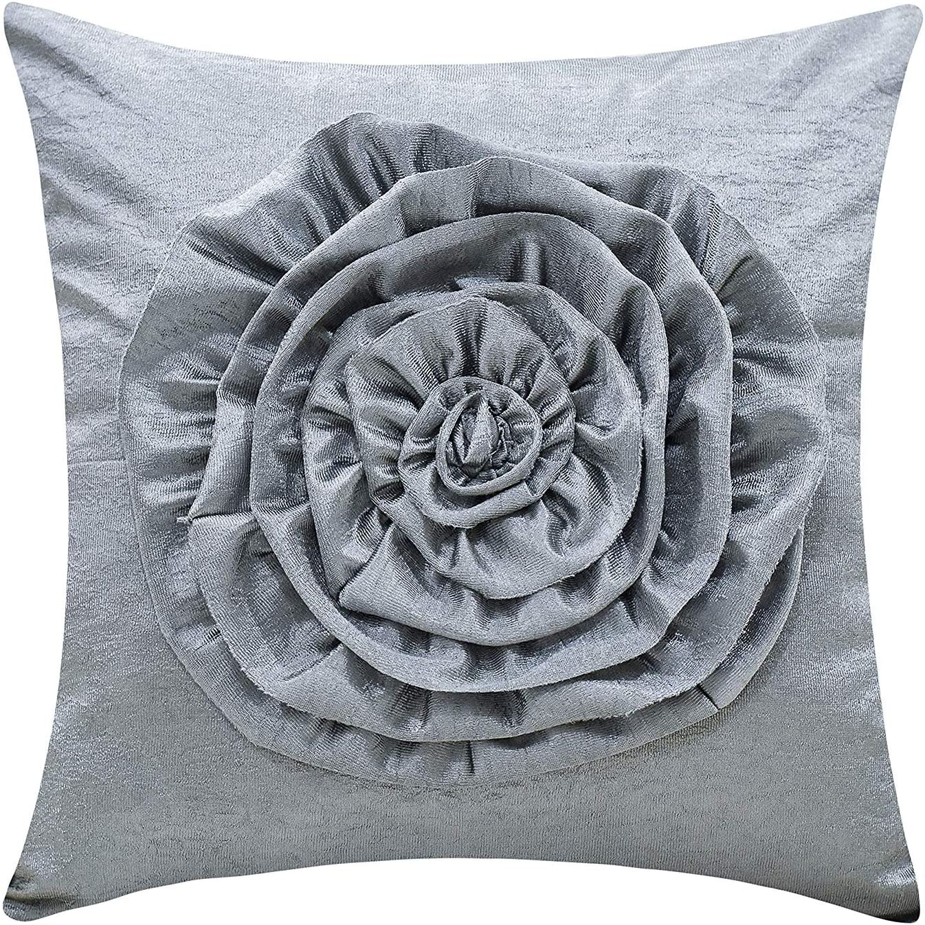 The White Petals Silver Gray Throw Pillow Cover (3D Flower, 18x18 inch, Pack of 1)