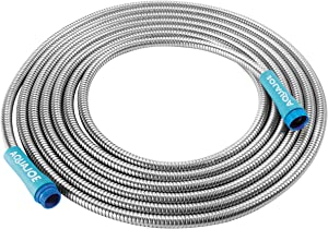 "Aqua Joe AJSGH25 1/2"" Heavy-Duty Spiral Constructed Stainless Steel Garden Hose, 25 Foot"