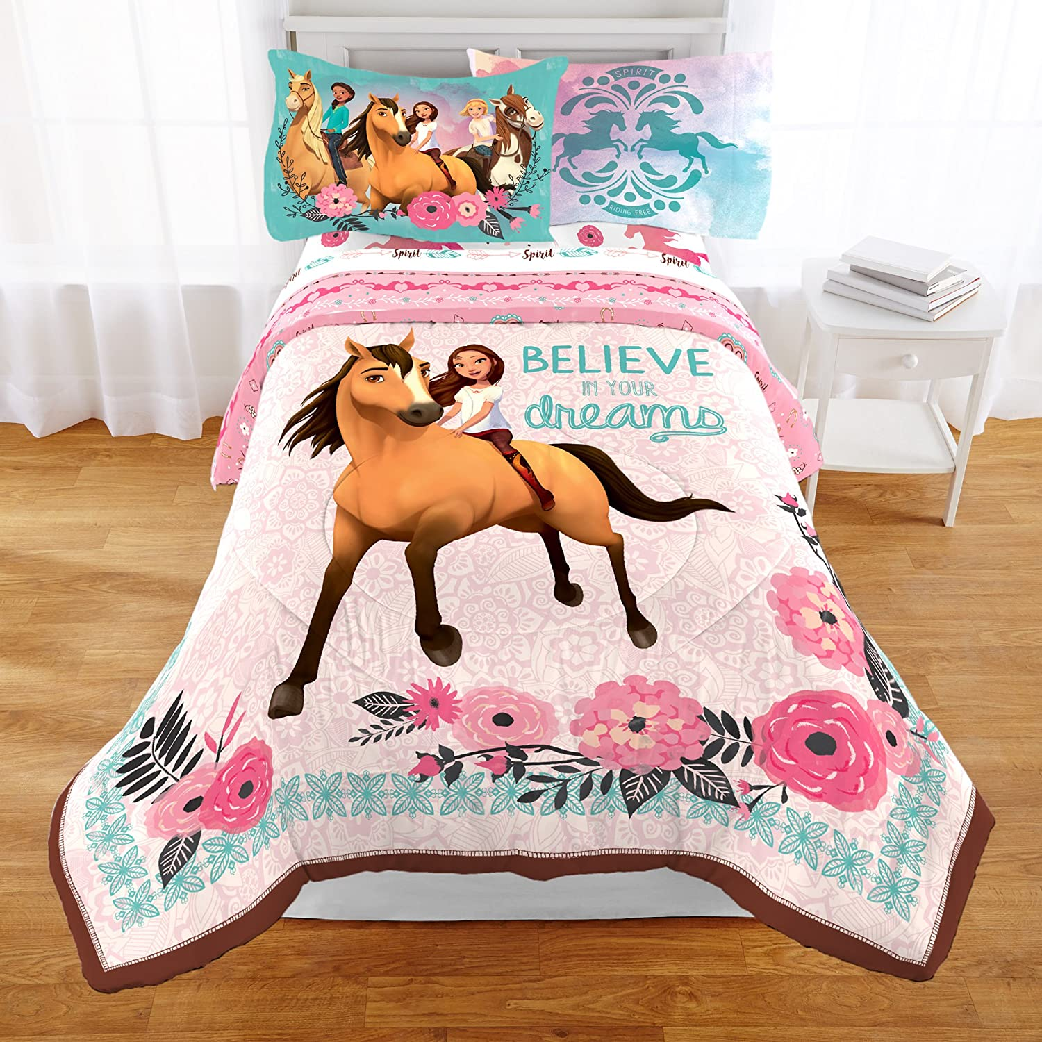 1 Piece Kids Girls Coral Blue Dreamworks Spirit Comforter Twin, Brown Pony Themed Bedding Lucky Giddy Up Believe In Your Dreams Stallion Horse Flower Adventures Magical Fantasy Animated Film Polyester