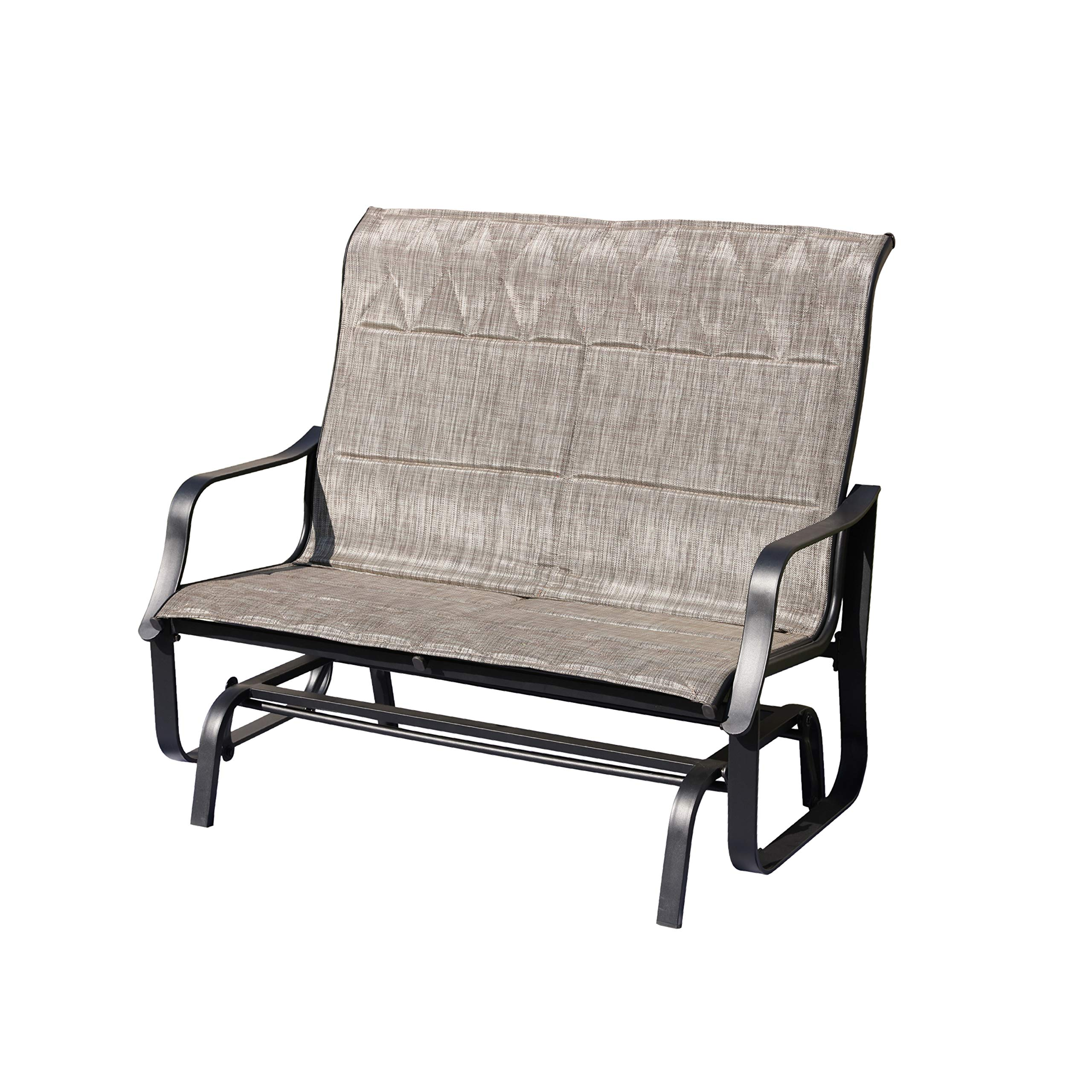 LOKATSE HOME Patio Outdoor Glider Seat Bench 2-Person Swing Loveseat Furniture Rocker Lounge Chair,Grey
