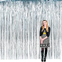 PARTY PROPZ Silver foil Curtain Set of 2/Silver foil Curtain/Baby Shower Decoration/Bachelorette Decoration/Birthday Decoration