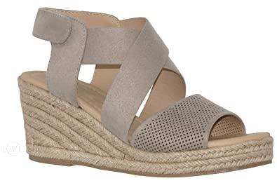 2999bbb60203 MVE Shoes Women s Open Toe Espadrille Mid Platform -Strappy Back Velcro  Summer Sandals - Fashion
