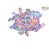 Colourful Happy Birthday Cupcake Picks Cake Toppers,Pack of 50