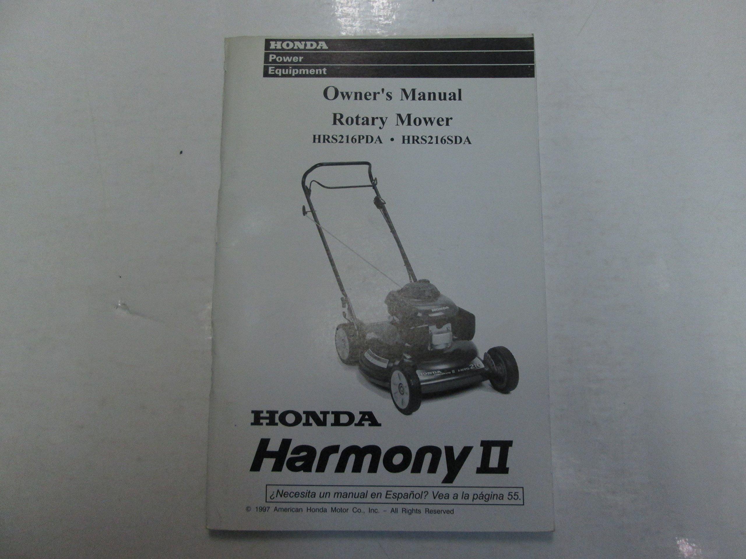1998 Honda HRS216PDA HRS216SDA Harmony II Rotary Mower Owners Manual STAINS  WORN: Honda Motor Co.: Amazon.com: Books