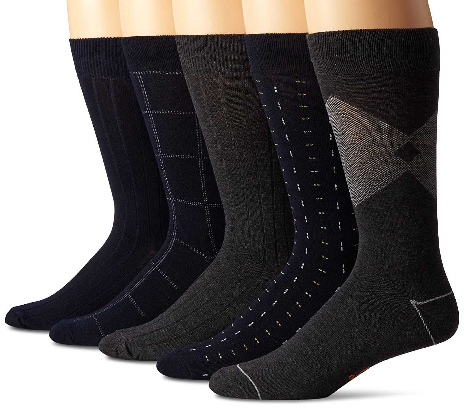 Dockers Men's 5 Pack Classics Dress Dashed Crew Socks Black Royce Too D51006