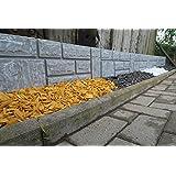 Steinimitat Zaun Rasenkante Palisade Beeteinfassung antikgrau 2,34 m x 20 cm x 2,5 cm stark schnelle Lieferung & Versand