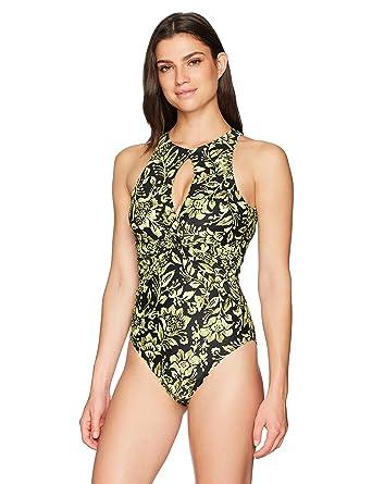 57f309e0fb3da Coastal Blue Women s Swimwear Twist Front Keyhole Neckline One Piece  Swimsuit