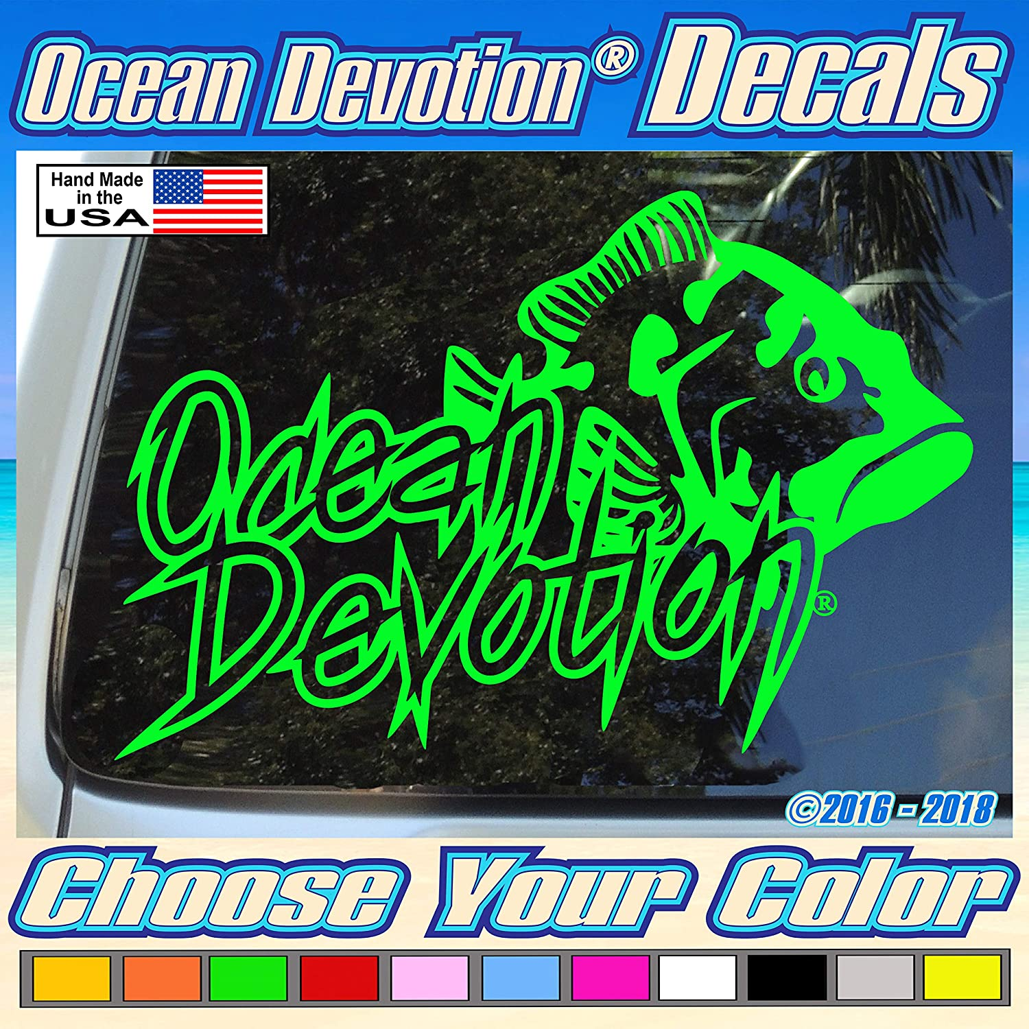"Grouper Fish ""Ocean Devotion®"" Vinyl Decal/Sticker 8w x 5h inches - Keywords... Sea Life, Surf, Surfing, Fishing, Salt Life, Reel Life, Beach Life, Automobile, Car, Truck, Boat, Window"