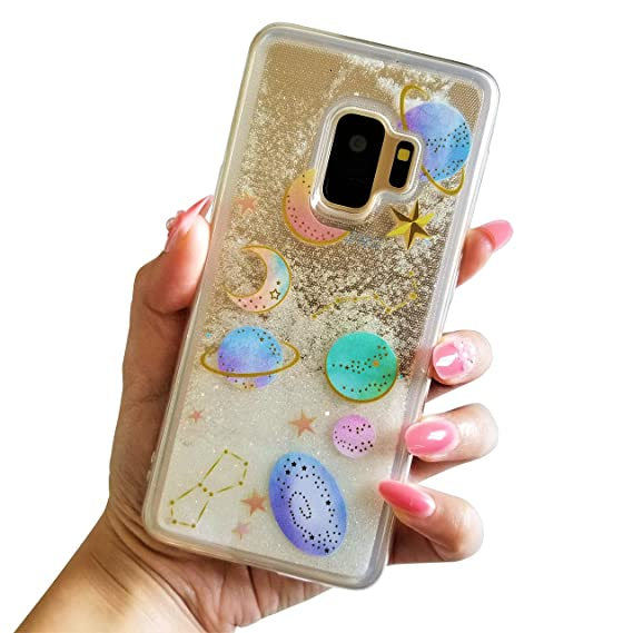 huge discount a8d7b 1a2dc for Samsung Galaxy S9 Cute Clear Transparent Floating Moon Stars Planet  Outer Space Liquid Waterfall Bling Glitter Case (Clear)