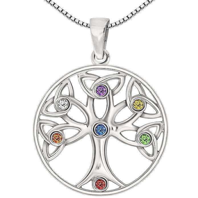 925 Silber Sterling Halskette Anhänger Zirkonia Edelstein Baum Kette Lebensbaum