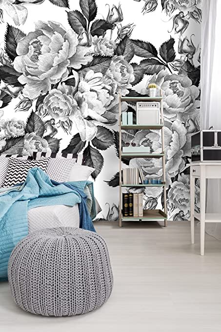 Removable Wallpaper Mural Peel Stick Peonies Flowers Watercolor Black And White 75W X 75H