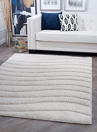 Tayse Waveland Cream 9×13 Rectangle Area Rug for Living, Bedroom, or Dining Room – Shag, Stripe