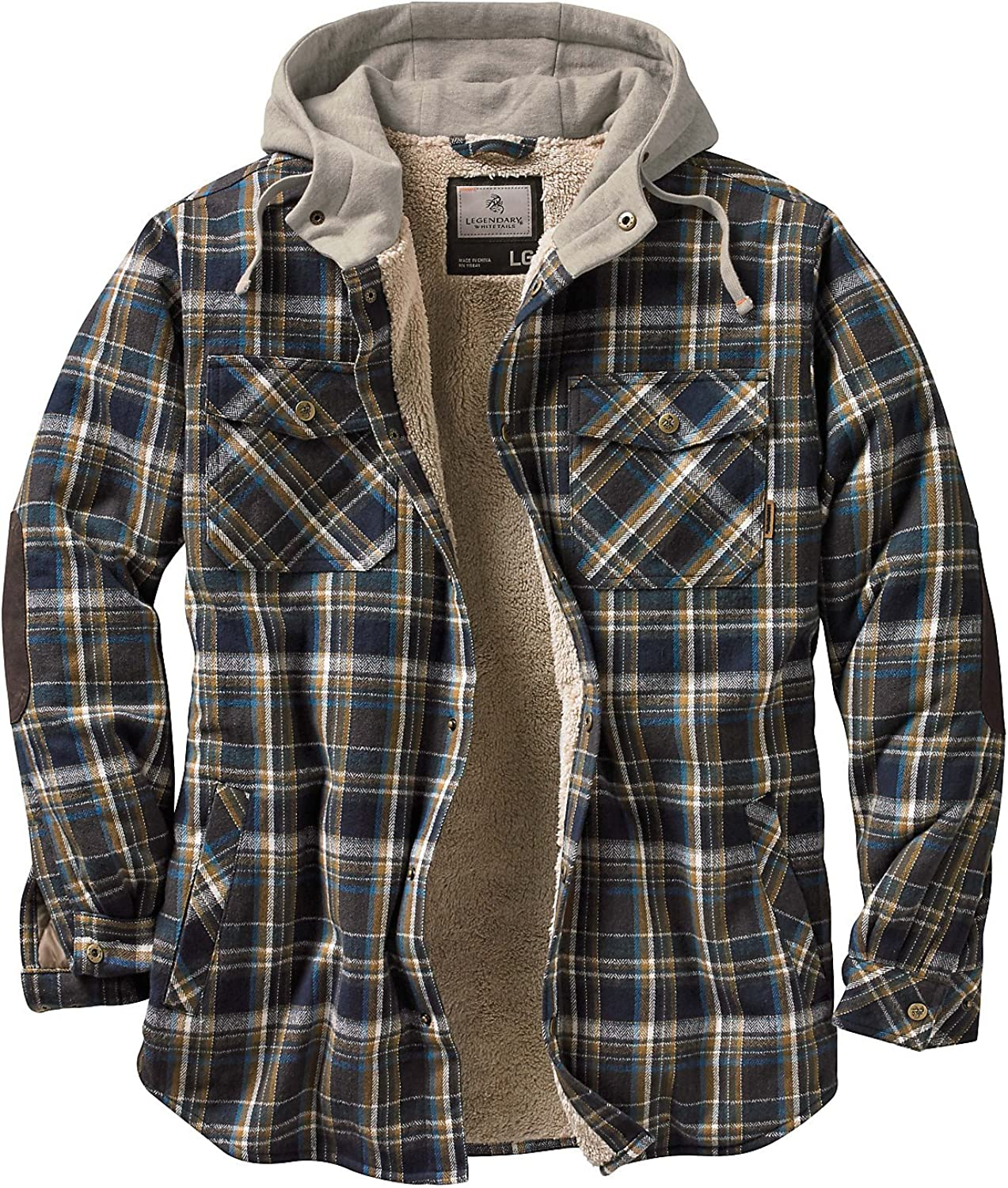 Legendary Whitetails Men's Camp Night Berber Lined Hooded Flannel Shirt Jacket: Clothing